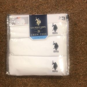 NWT U.S Polo Assn Mens Crew Tees Slim Fit 3 Pack